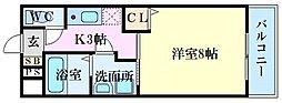 PLEIN SOLEIL 東霞町 2階1Kの間取り