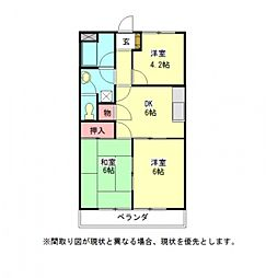 愛知県一宮市木曽川町門間字南屋敷の賃貸アパートの間取り