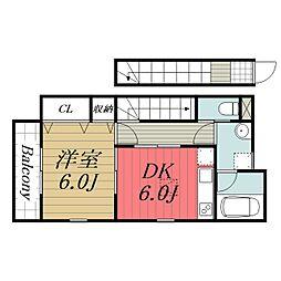 JR総武本線 八街駅 徒歩3分の賃貸アパート 2階1DKの間取り
