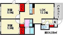 クオーレ・カルモ 2番館[1階]の間取り