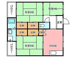 ヴィレッジハウス加賀田[3階]の間取り