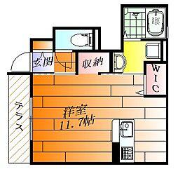 (仮称)D-room小曽根4丁目 1階ワンルームの間取り