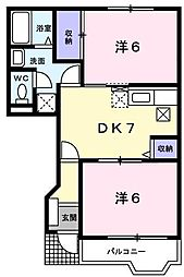 コスモスA[1階]の間取り