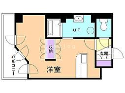 UURコート札幌南三条プレミアタワー 8階ワンルームの間取り