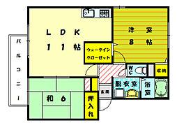 サニーヒル B[1階]の間取り