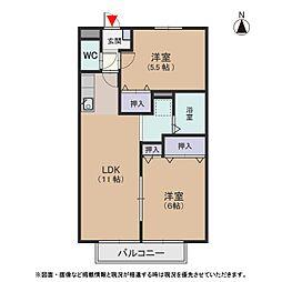 クオリア B[2階]の間取り