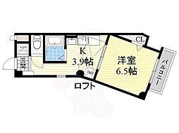メビウスハウス 5階1Kの間取り