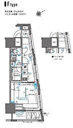 ZOOM横浜桜木町 8階1Kの間取り