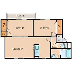 近鉄橿原線 八木西口駅 徒歩20分の賃貸マンション 2階2LDKの間取り