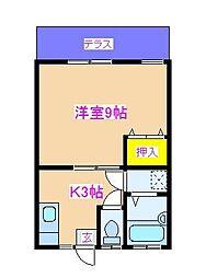 久木田アパートB 1階1Kの間取り