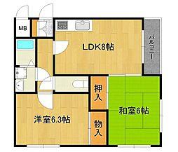 サライ西野[2階]の間取り