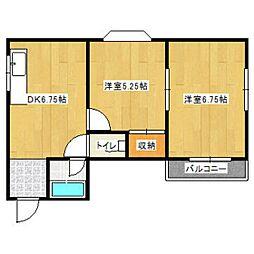 福岡県福岡市中央区桜坂1丁目の賃貸アパートの間取り