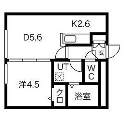 札幌市営東豊線 東区役所前駅 徒歩7分の賃貸マンション 4階1LDKの間取り