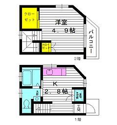 東京都練馬区小竹町1丁目の賃貸アパートの間取り
