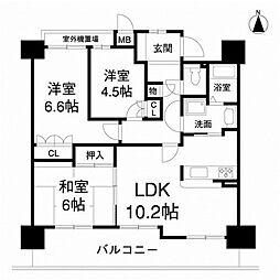 大阪府堺市南区新檜尾台3丁の賃貸マンションの間取り