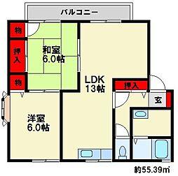 福岡県大野城市筒井1丁目の賃貸アパートの間取り