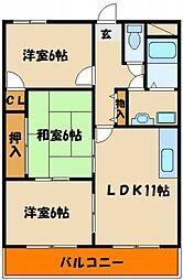 シティハイツII[4階]の間取り
