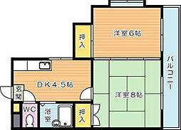 シャトレ幸神II[5階]の間取り