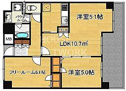 プレサンス京都四条河原町ネクステージ[7F号室号室]の間取り