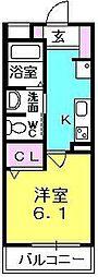 シャーメゾン津門 2階1Kの間取り