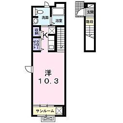 フォンターナ・コート 2階ワンルームの間取り