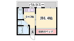 JR加古川線 社町駅 バス15分 南山下車 徒歩2分の賃貸アパート 1階1DKの間取り