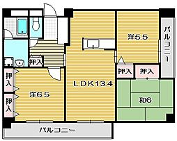 大阪府茨木市鮎川5丁目の賃貸マンションの間取り