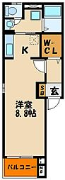 (仮称)鷹匠町アパート[2階]の間取り