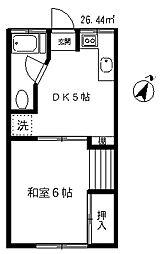 東京都世田谷区下馬5丁目の賃貸アパートの間取り