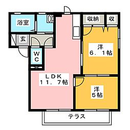 ドムスツインベルV[1階]の間取り