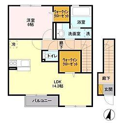 茨城県つくば市みどりの中央の賃貸アパートの間取り