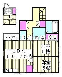 JR京浜東北・根岸線 西川口駅 徒歩10分の賃貸アパート 2階2LDKの間取り