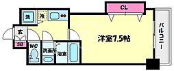 Luxe花園(ラグゼ花園) 14階1Kの間取り