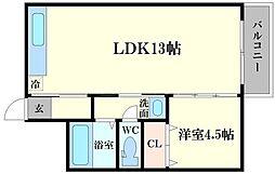 大宮マンション 4階1LDKの間取り