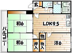 パ−クコ−ト槻田A[2階]の間取り