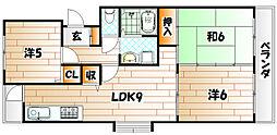 福岡県北九州市若松区高須南1丁目の賃貸マンションの間取り