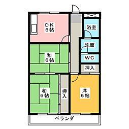 ドミール服部A棟[2階]の間取り