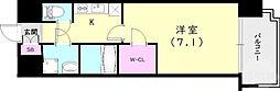 ワールドアイ神戸ハーバーランド 9階1Kの間取り