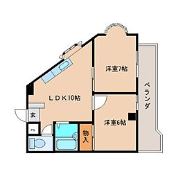 静岡県静岡市清水区高橋4丁目の賃貸マンションの間取り