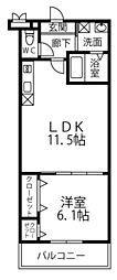 南海線 高石駅 徒歩10分の賃貸アパート 1階1LDKの間取り