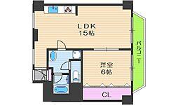 メゾン北梅田 11階1LDKの間取り