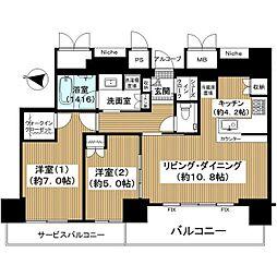 ザ・ファインタワー梅田豊崎 27階2LDKの間取り