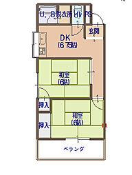 橋本マンション堂山[3階]の間取り