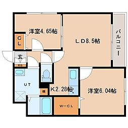 北海道札幌市北区北二十一条西2丁目の賃貸マンションの間取り