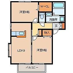 サンガーデンA・B[A201号室]の間取り