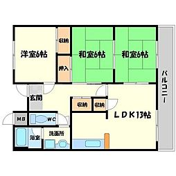 第5清涼マンション[3階]の間取り