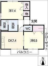 オアシス・コート C棟[2階]の間取り