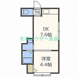 北海道札幌市東区北三十二条東13丁目の賃貸アパートの間取り