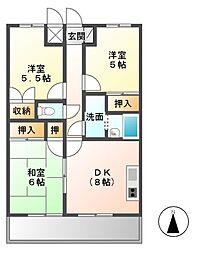 浜野セントラルマンション[2階]の間取り