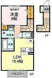岡山県岡山市北区奉還町4丁目の賃貸アパートの間取り